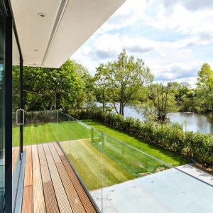 Lakeside balcony at The House